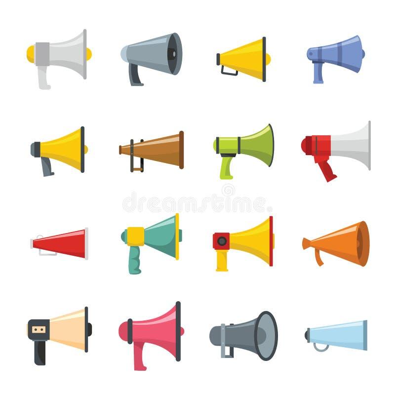Geplaatste pictogrammen van de megafoon de luide spreker, vlakke stijl royalty-vrije illustratie