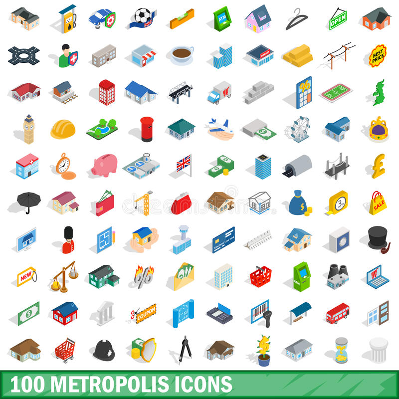 100 geplaatste pictogrammen van de metropool, isometrische 3d stijl stock illustratie