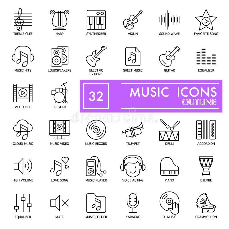 Geplaatste pictogrammen van de muziek de dunne lijn Vector pictogrammen die op wit worden geïsoleerde Eps 10 stock illustratie