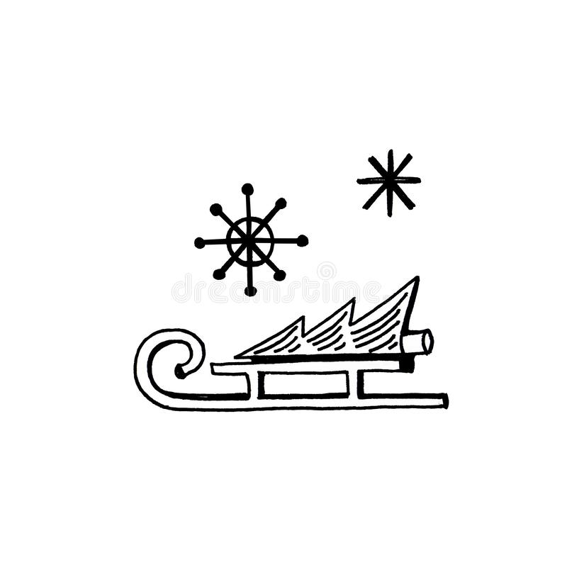 Geplaatste pictogrammen van de nieuwjaar de hand getrokken krabbel Slee, boom, sneeuwvlokken op witte achtergrond royalty-vrije illustratie