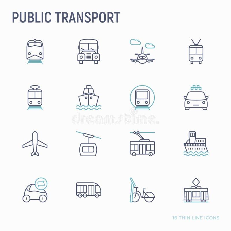 Geplaatste pictogrammen van de openbaar vervoer de dunne lijn vector illustratie