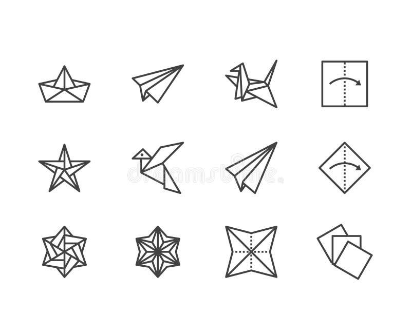 Geplaatste pictogrammen van de origami de vlakke lijn Document kranen, vogel, boot, vliegtuig vectorillustraties Verdun tekens vo royalty-vrije illustratie