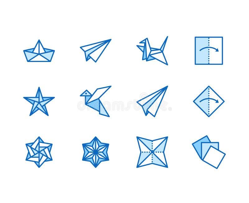 Geplaatste pictogrammen van de origami de vlakke lijn Document kranen, vogel, boot, vliegtuig vectorillustraties Verdun tekens vo stock illustratie