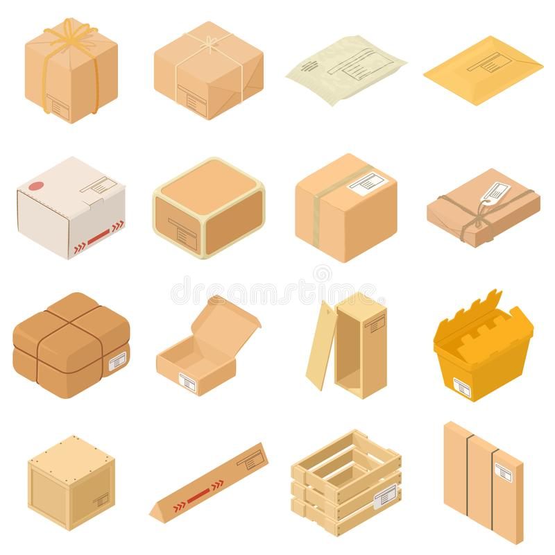 Geplaatste pictogrammen van de pakket de verpakkende doos, isometrische stijl vector illustratie