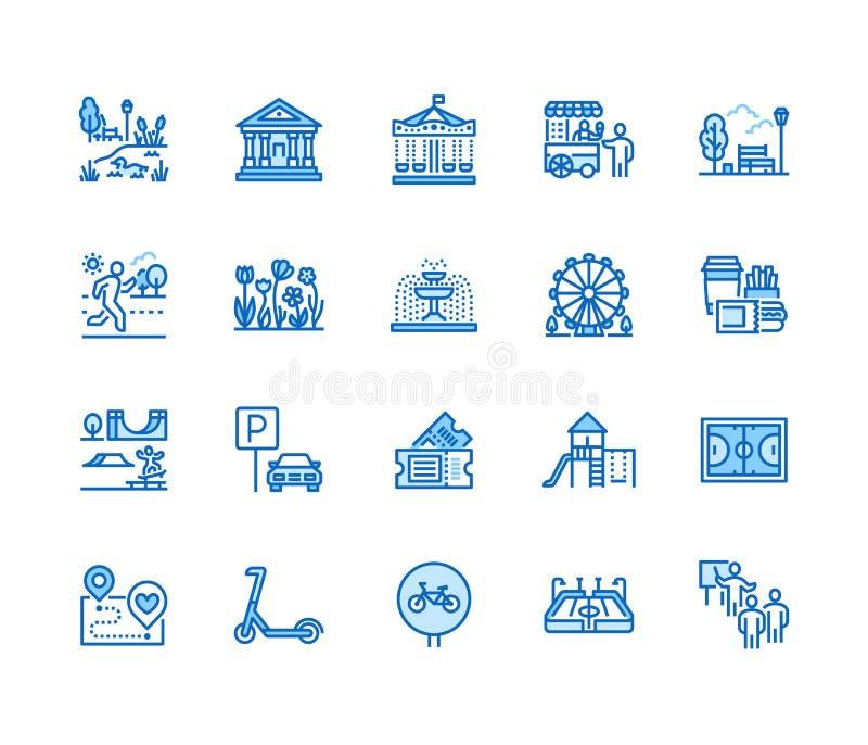 Geplaatste pictogrammen van de park de vlakke lijn De botanische tuin, carrousel, ferris rijdt, museum, excursie, vijver, straatv stock illustratie