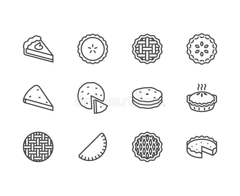 Geplaatste pictogrammen van de pastei de vlakke lijn Ossetian, kers, appel, pompoenpastei, braadpan, pitabroodje vectorillustrati vector illustratie