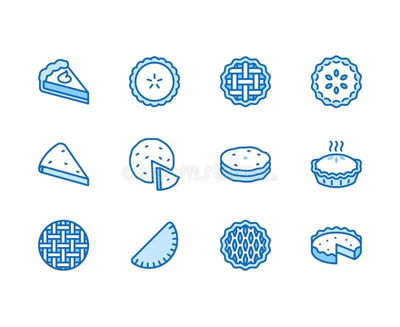 Geplaatste pictogrammen van de pastei de vlakke lijn Ossetian, kers, appel, pompoenpastei, braadpan, pitabroodje vectorillustrati stock illustratie