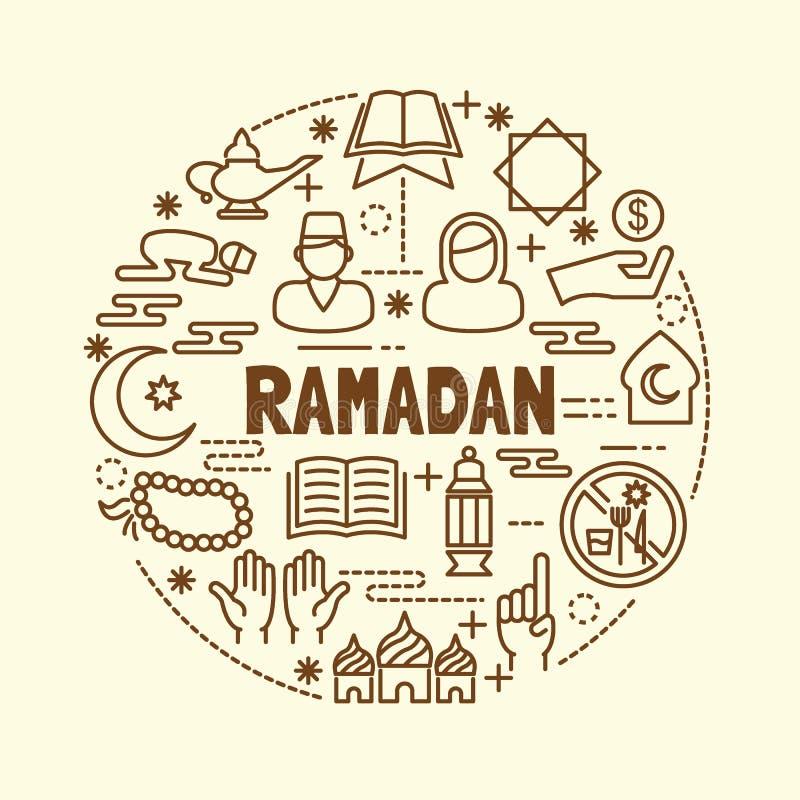 Geplaatste pictogrammen van de Ramadan de minimale dunne lijn