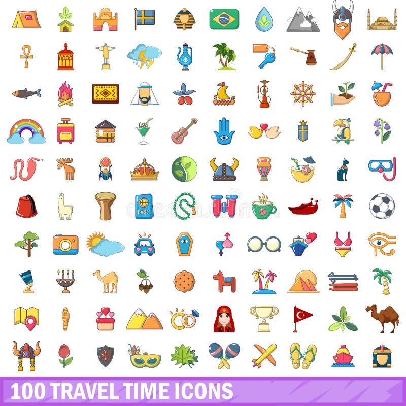 100 geplaatste pictogrammen van de reistijd, beeldverhaalstijl royalty-vrije illustratie