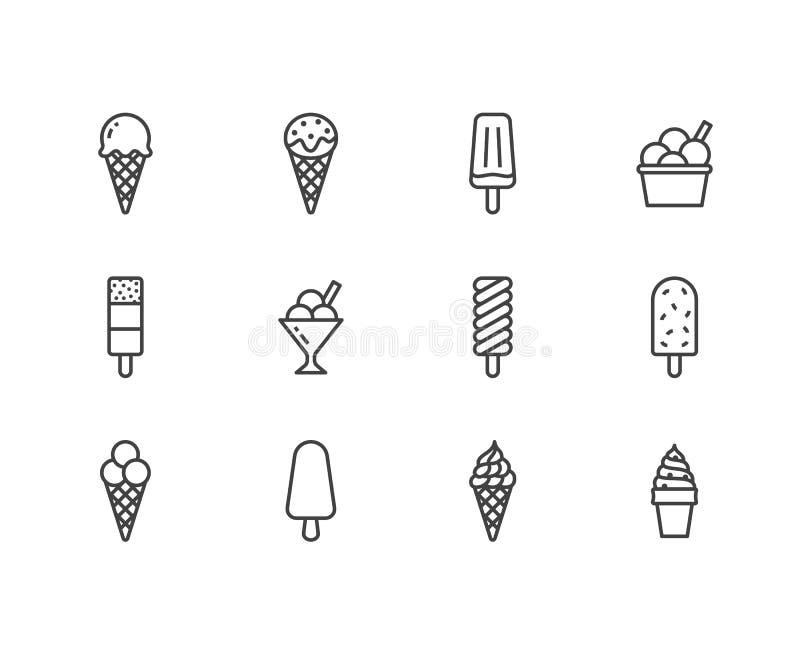 Geplaatste pictogrammen van de roomijs de vlakke lijn Wafelkegel, ijslollie, bevroren sap, ijslolly, sorbet in kom vectorillustra vector illustratie