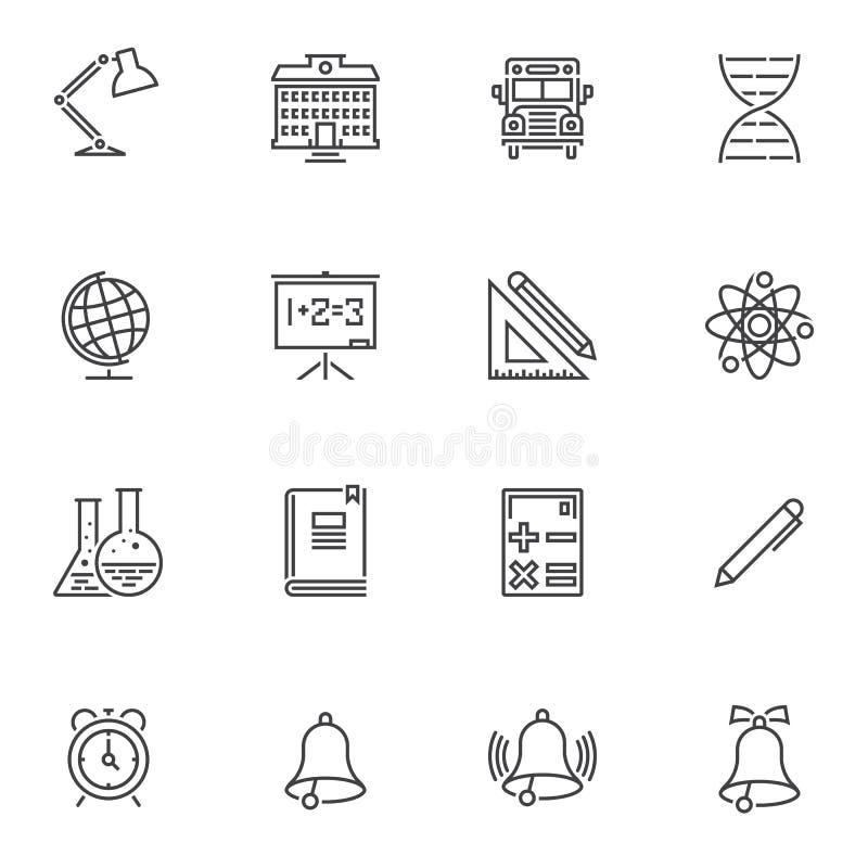 Geplaatste pictogrammen van de school de bijkomende lijn vector illustratie