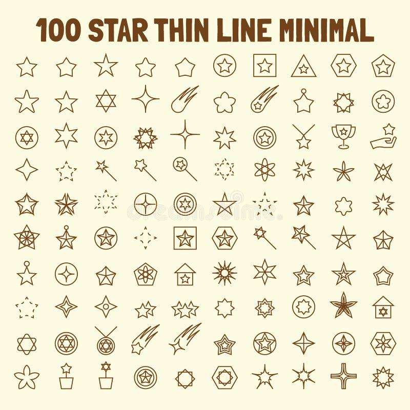 100 geplaatste pictogrammen van de ster dunne lijn royalty-vrije illustratie
