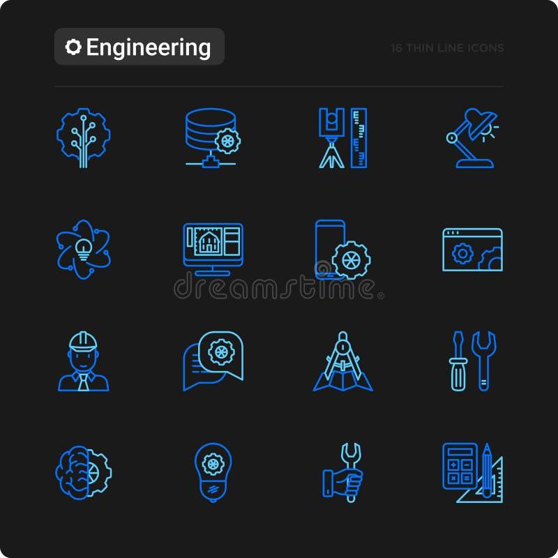 Geplaatste pictogrammen van de techniek de dunne lijn stock illustratie