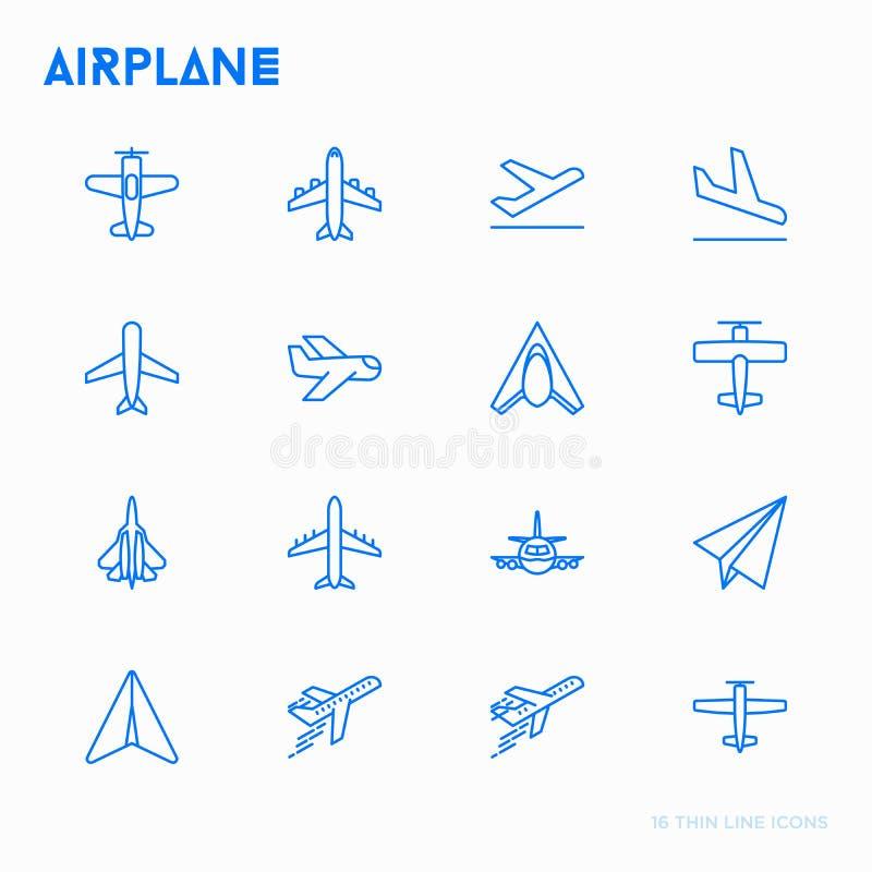 Geplaatste pictogrammen van de vliegtuig de dunne lijn royalty-vrije illustratie