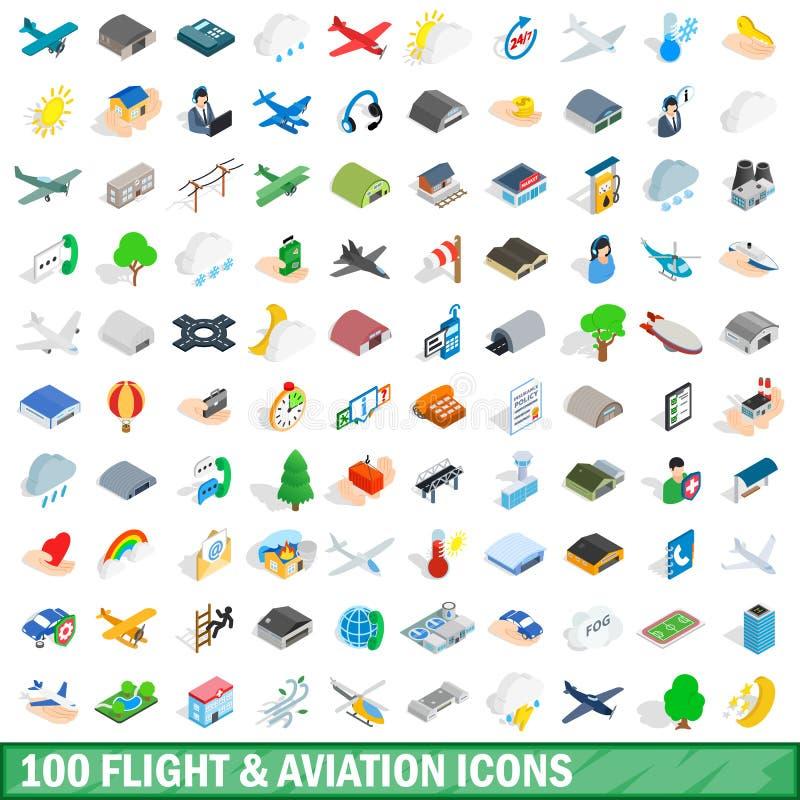 100 geplaatste pictogrammen van de vluchtluchtvaart, isometrische 3d stijl vector illustratie