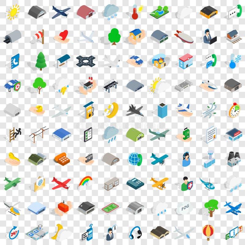 100 geplaatste pictogrammen van de vluchtluchtvaart, isometrische 3d stijl royalty-vrije illustratie