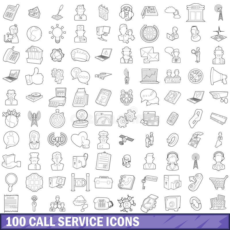 100 geplaatste pictogrammen van de vraagdienst, schetsen stijl royalty-vrije illustratie