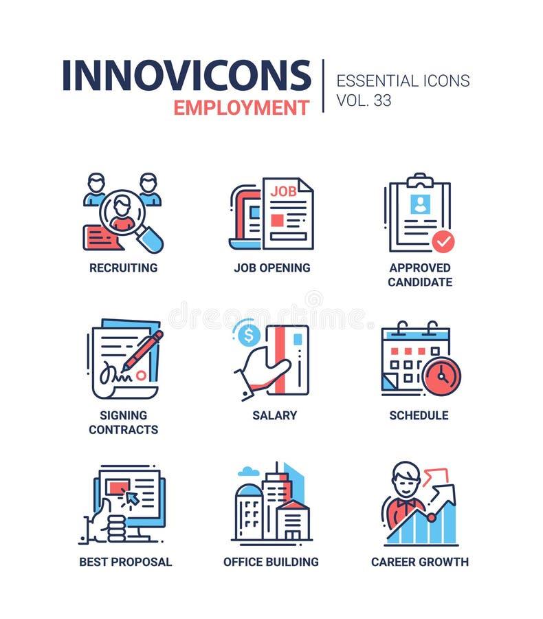 Geplaatste pictogrammen van de werkgelegenheids de moderne vectorlijn royalty-vrije illustratie