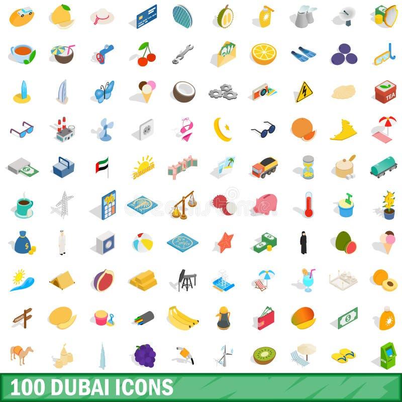 100 geplaatste pictogrammen van Doubai, isometrische 3d stijl stock illustratie