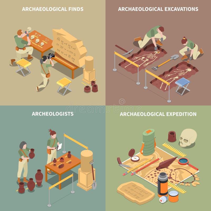 Geplaatste Pictogrammen van het archeologie de Isometrische Concept vector illustratie