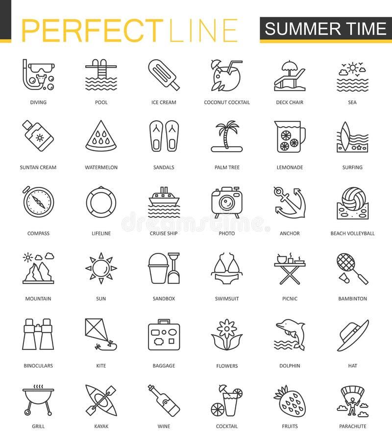 Geplaatste pictogrammen van het de lijnweb van de de zomertijd de dunne Van de het overzichtsslag van de vakantiereis de pictogra stock illustratie