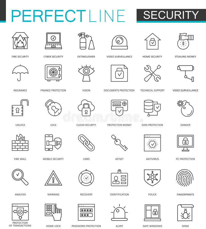 Geplaatste pictogrammen van het de lijnweb van de veiligheidsbescherming de dunne Gegevens, Web, van de het overzichtsslag van de royalty-vrije illustratie