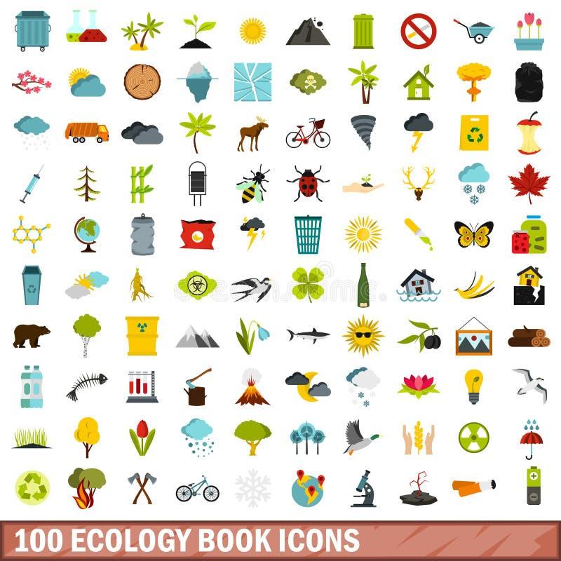 100 geplaatste pictogrammen van het ecologieboek, vlakke stijl stock illustratie