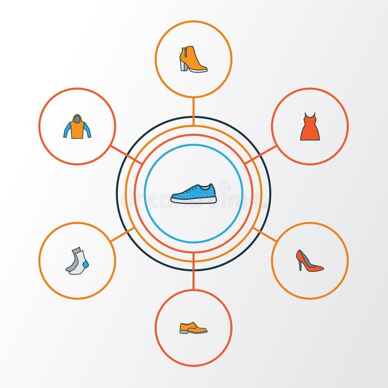 Geplaatste Pictogrammen van het kledingstuk de Kleurrijke Overzicht Inzameling van Hielen, Kleding, Tennisschoenen en Andere Elem stock illustratie