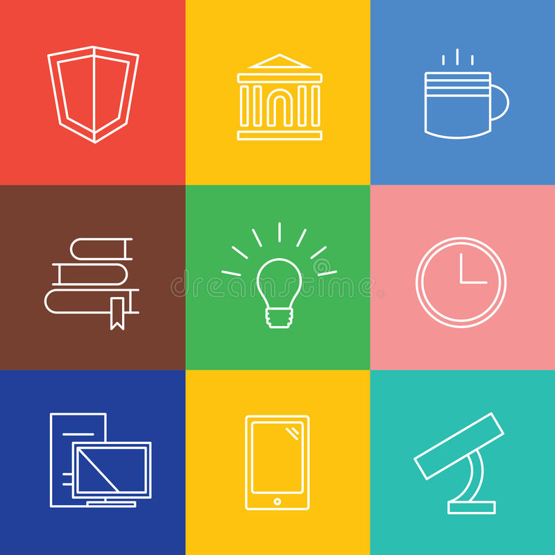 Geplaatste pictogrammen van het onderwijs de vectorembleem Graduatie stock illustratie
