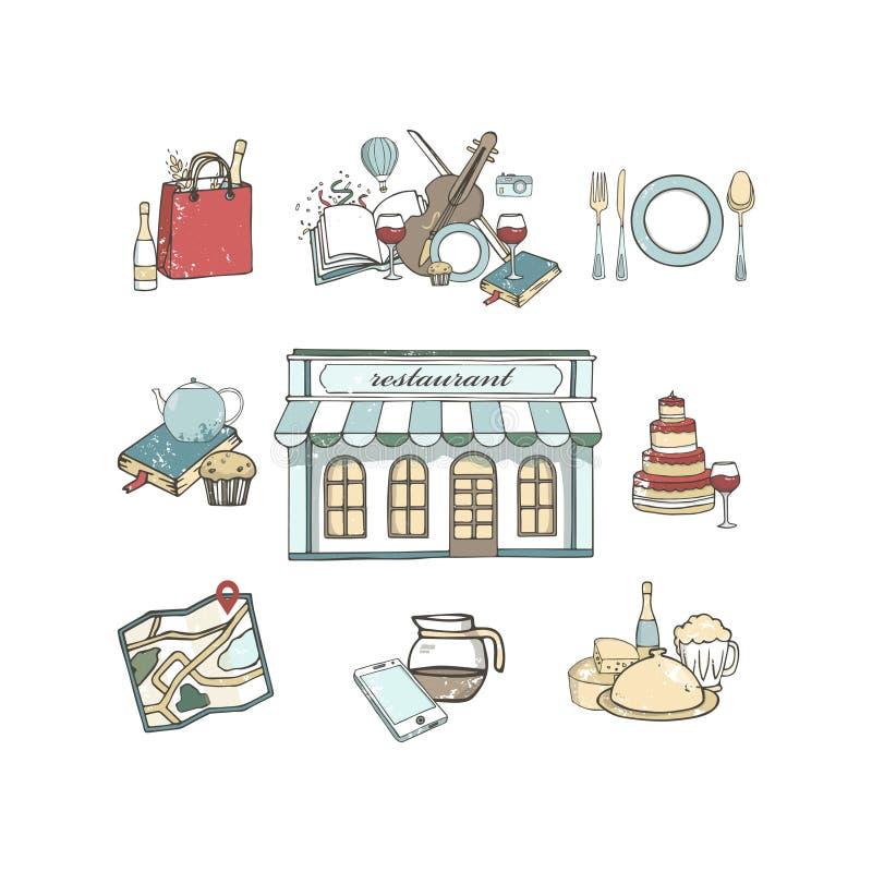 Geplaatste pictogrammen van het reis de vastgestelde hand getrokken restaurant, de vlakke illustratie van de illustratie grunge t royalty-vrije illustratie
