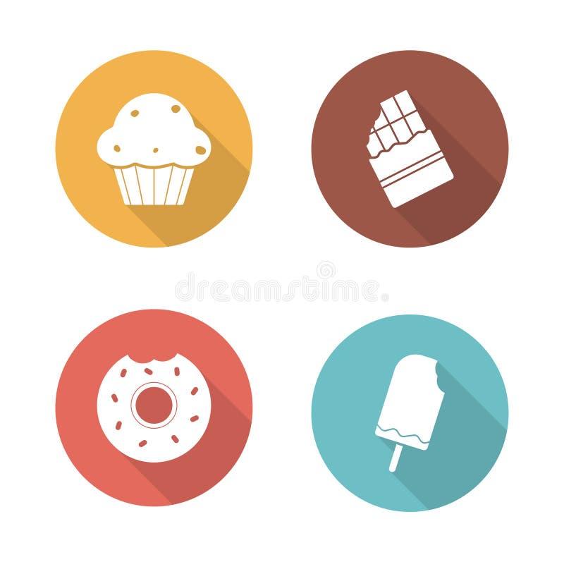 Geplaatste pictogrammen van het snoepjes de vlakke ontwerp royalty-vrije illustratie