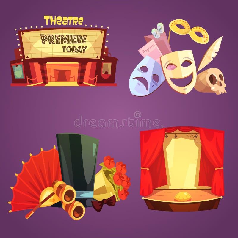 Geplaatste Pictogrammen van het theater Retro Beeldverhaal 2x2 vector illustratie