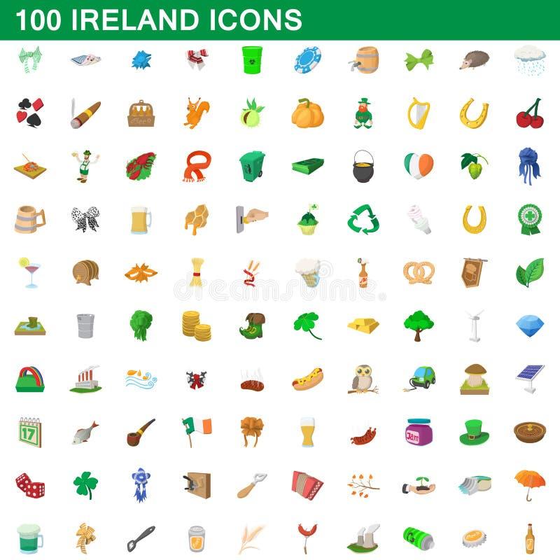 100 geplaatste pictogrammen van Ierland, beeldverhaalstijl vector illustratie