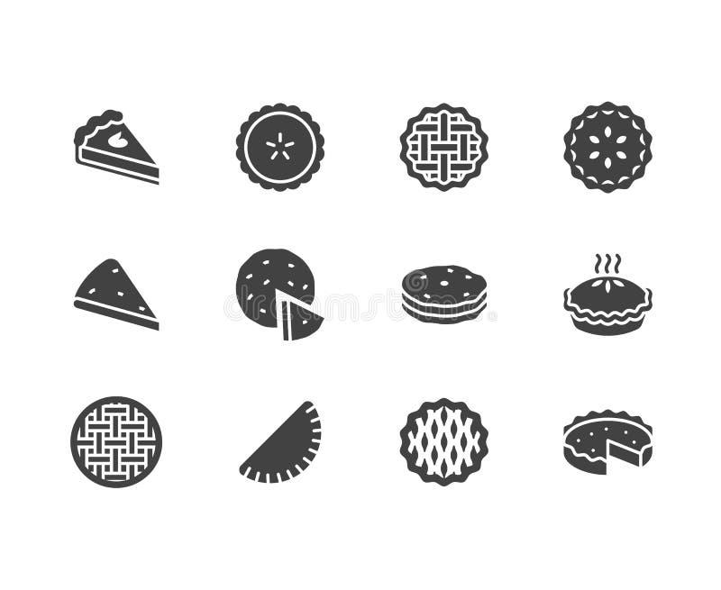 Geplaatste pictogrammen van pastei de vlakke glyph Ossetian, kers, appel, pompoenpastei, braadpan, pitabroodje vectorillustraties royalty-vrije illustratie