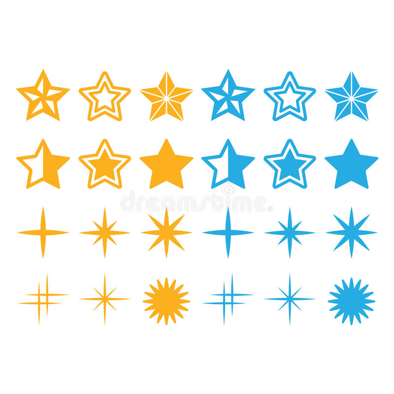 Geplaatste pictogrammen van sterren de gele en blauwe sterren stock illustratie