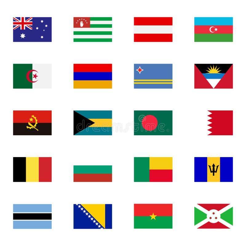 Geplaatste pictogrammen van wereld de vlakke vlaggen royalty-vrije illustratie
