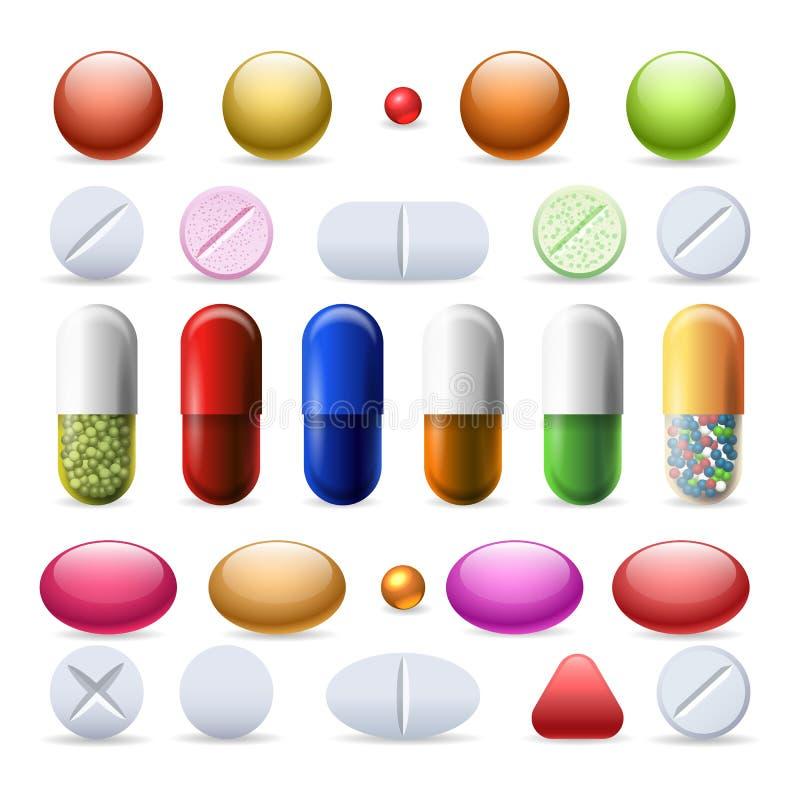 Geplaatste pil en tabletten royalty-vrije illustratie