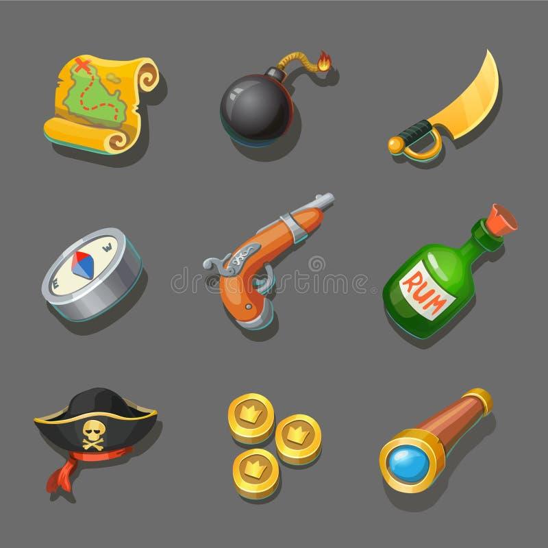 Geplaatste piraatpictogrammen Reeks zeeroverpunten Verschillend wapen, kompas, muntstuk, kanon, zwaard, en schatkaart stock illustratie
