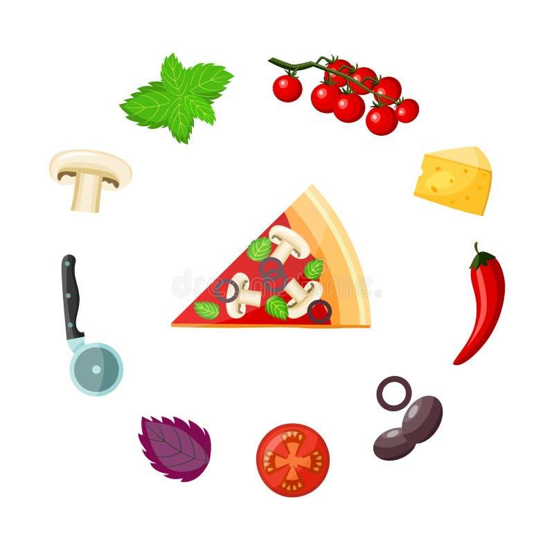 Geplaatste pizza en ingrediënten - kleurrijk stuk van kant-en-klare vegetarische pizza met groenten, kaas en mes vector illustratie