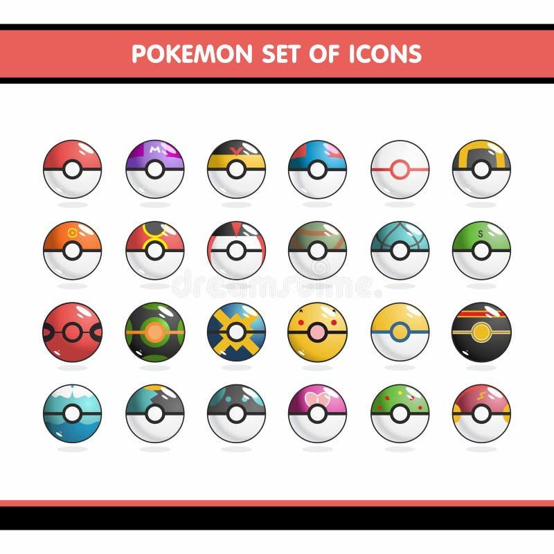 Geplaatste Pokemonpictogrammen stock illustratie