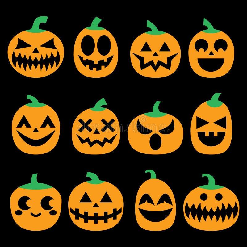 Geplaatste pompoen vectorpictogrammen, reeks van het de gezichtenontwerp van Halloween de enge, verschrikkingsdecoratie stock illustratie