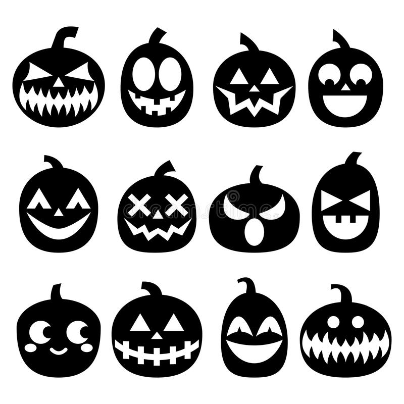 Geplaatste pompoenpictogrammen, reeks van het de gezichtenontwerp van Halloween de enge, verschrikkingsdecoratie in zwarte op wit vector illustratie