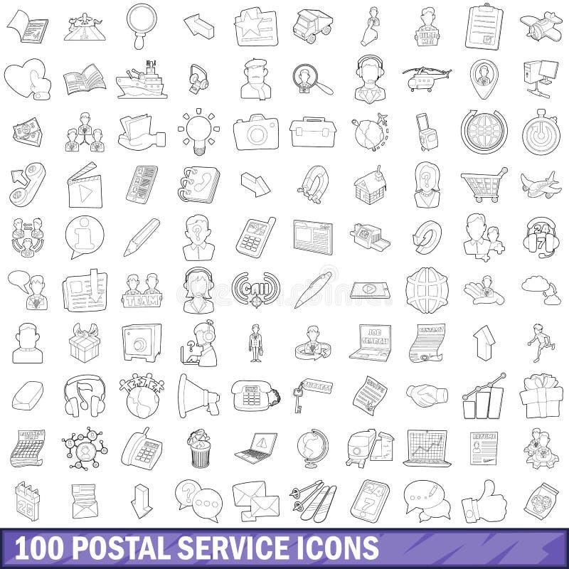 100 geplaatste postpictogrammen, schetsen stijl royalty-vrije illustratie