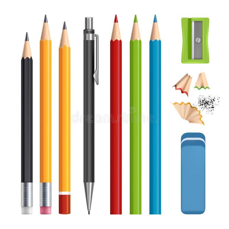 Geplaatste potloden De kantoorbehoeftenhulpmiddelen scherpen, gekleurde houten potloden met rubber vector realistische geïsoleerd royalty-vrije illustratie