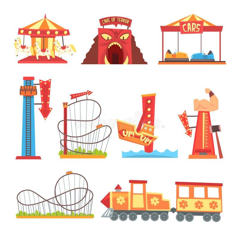 Geplaatste pretparkelementen, funfair vectorillustraties van het aantrekkelijkheids de kleurrijke beeldverhaal royalty-vrije illustratie