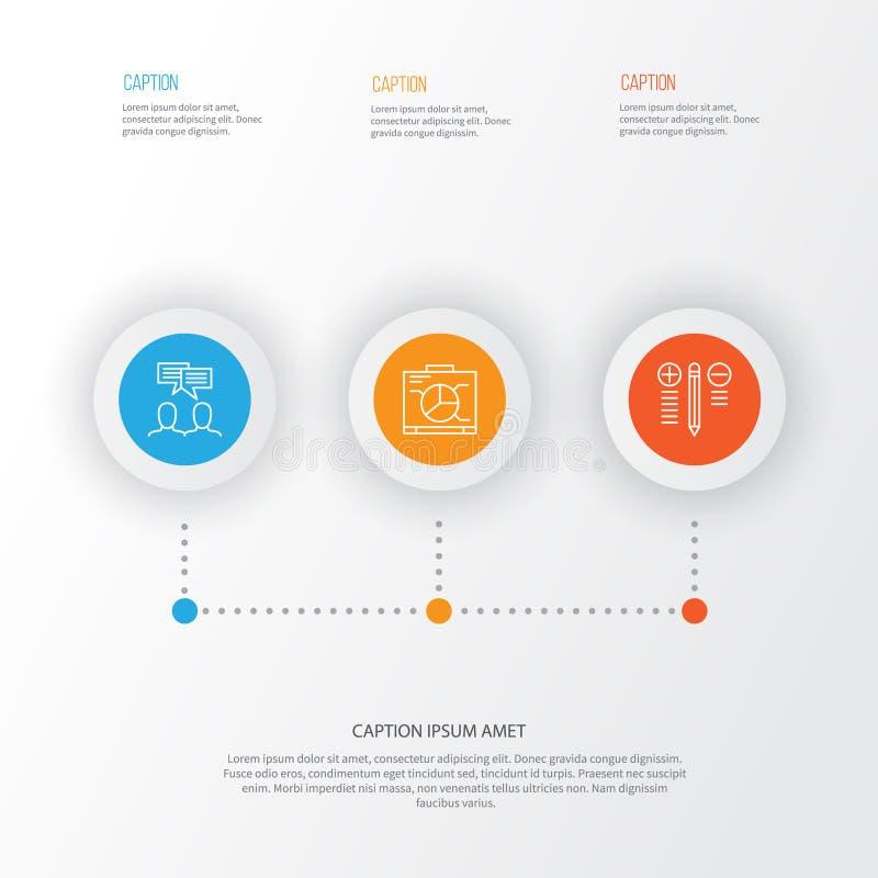 Geplaatste projectpictogrammen Inzameling van Besluit - het maken, Raad, Bespreking en Andere Elementen Omvat ook Symbolen zoals stock illustratie