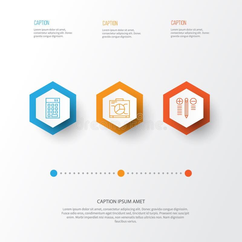Geplaatste projectpictogrammen Inzameling van Investering, Raad, Besluit - en Andere Elementen die maken Omvat ook Symbolen zoals stock illustratie