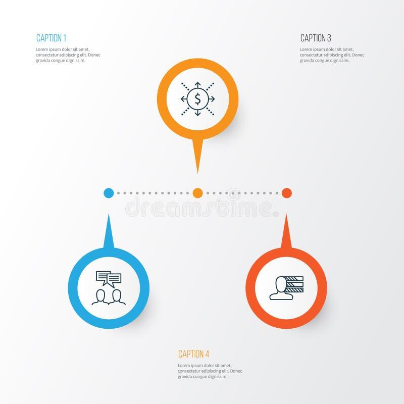Geplaatste projectpictogrammen Inzameling van Persoonlijke Vaardigheden, Geld, Bespreking en Andere Elementen Omvat ook Symbolen  stock illustratie