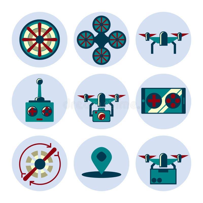 Geplaatste Quadrocopter vlakke pictogrammen vector illustratie