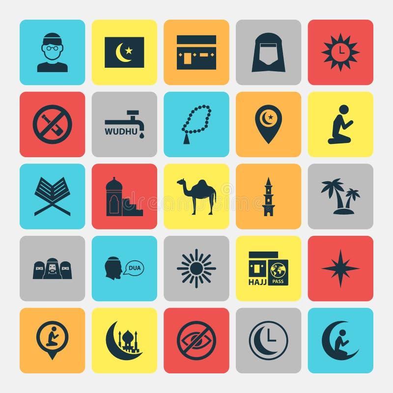 Geplaatste Ramadanpictogrammen Inzameling van Verboden, Minaret, Plaats en Andere Elementen Omvat ook Symbolen zoals Eiland vector illustratie